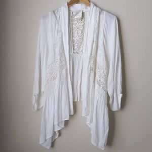 Anthro Elevenses Boho White Crochet Cardigan, M/L